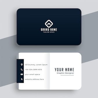 Modelo de cartão de visita preto e branco simples elegante
