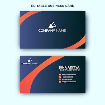Modelo de cartão de visita preto e cor laranja