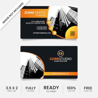 Modelo de cartão de visita preto e laranja moderno com foto