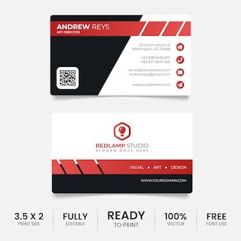 Modelo de cartão de visita preto e vermelho elegante