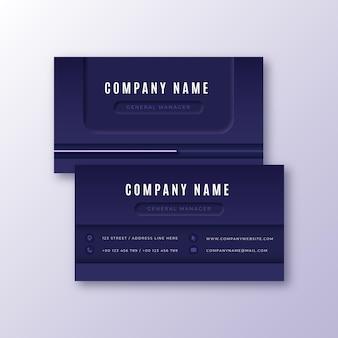 Modelo de cartão de visita roxo neumorph