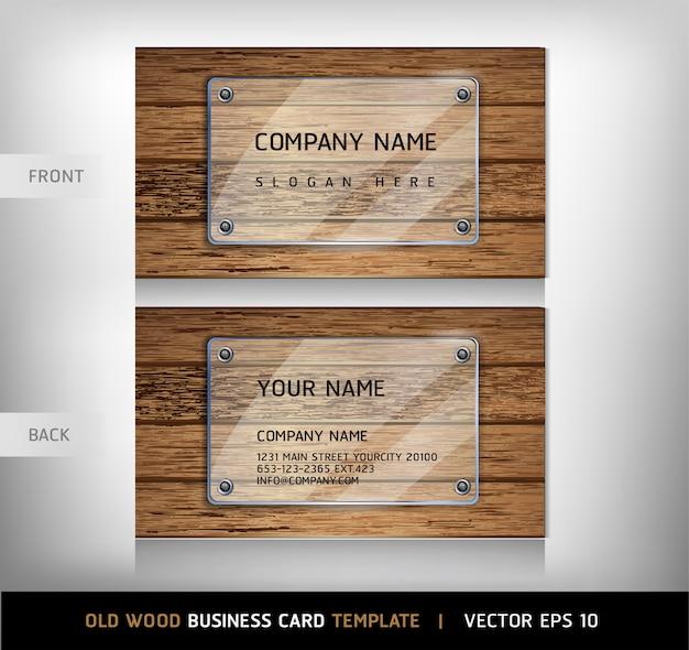 Modelo de cartão-de-visita - textura de madeira velha