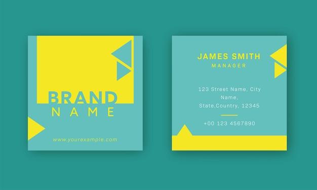 Modelo de cartão de visita verde e amarelo ou layout de postagem com dupla face.
