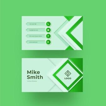 Modelo de cartão de visita verde neumorph