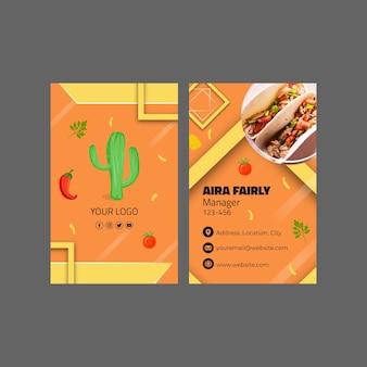 Modelo de cartão de visita vertical de comida mexicana Vetor Premium