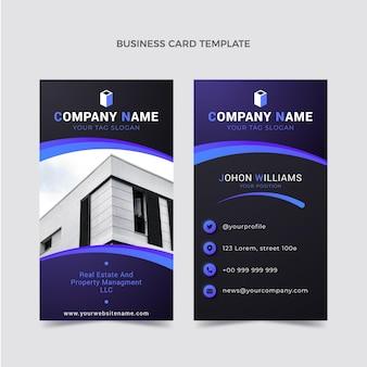Modelo de cartão de visita vertical de gradiente imobiliário Vetor Premium