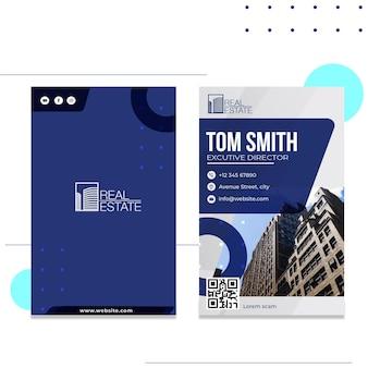 Modelo de cartão de visita vertical de imóveis