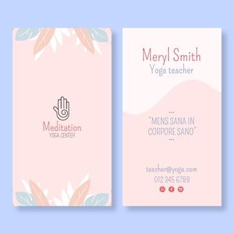Modelo de cartão de visita vertical de meditação e atenção plena
