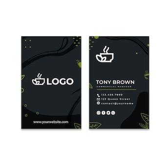 Modelo de cartão de visita vertical frente e verso chá matcha
