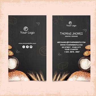 Modelo de cartão de visita vertical frente e verso pão
