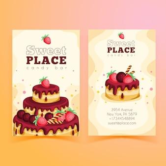 Modelo de cartão de visita vertical frente e verso para festa de aniversário