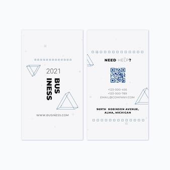 Modelo de cartão de visita vertical frente e verso para negócios em geral