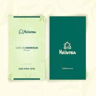 Modelo de cartão de visita vertical para chá matcha