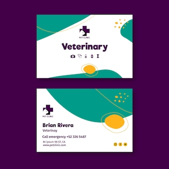 Modelo de cartão de visita veterinário com foto