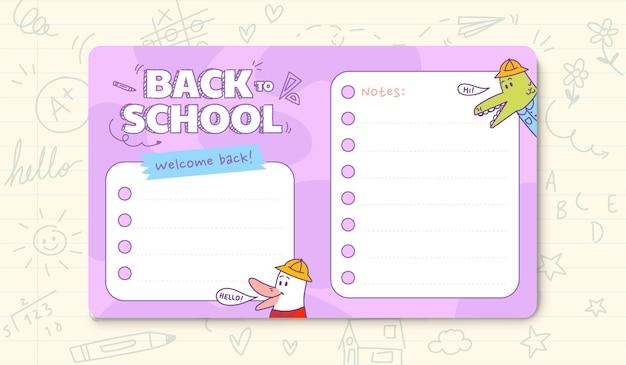 Modelo de cartão de volta às aulas
