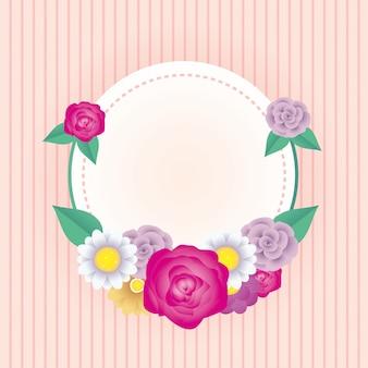 Modelo de cartão decorativo floral com moldura de círculo