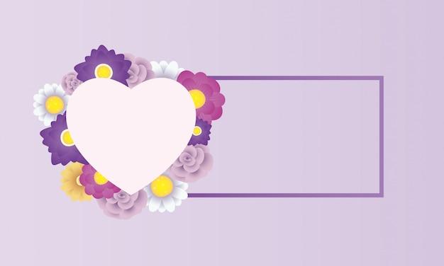 Modelo de cartão decorativo floral com moldura de coração