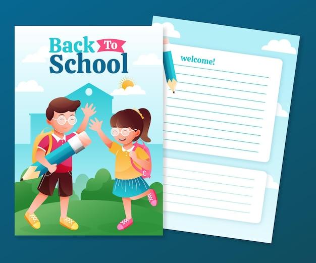 Modelo de cartão detalhado de volta à escola