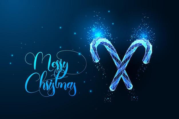 Modelo de cartão digital de feliz natal com dois bastões de doces brilhantes e texto