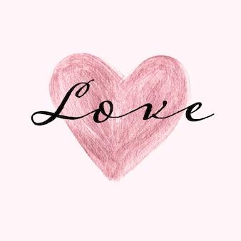 Modelo de cartão doce com mão de ouro rosa pintou o coração e texto de amor
