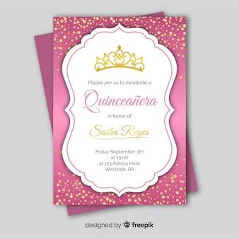 Modelo de cartão dourado quinceanera confetti