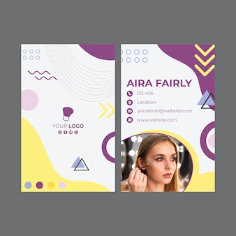 Modelo de cartão dupla face para salão de beleza Vetor Premium