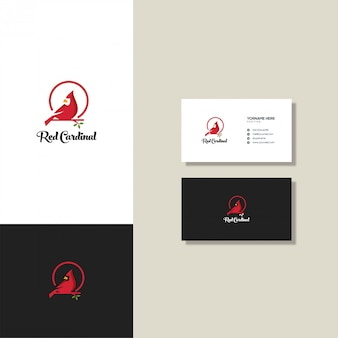Modelo de cartão e logotipo cardinal vermelho