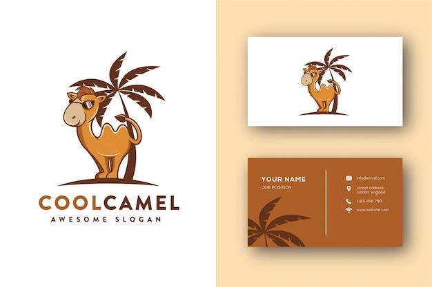 Modelo de cartão e logotipo de mascote de camelo de óculos