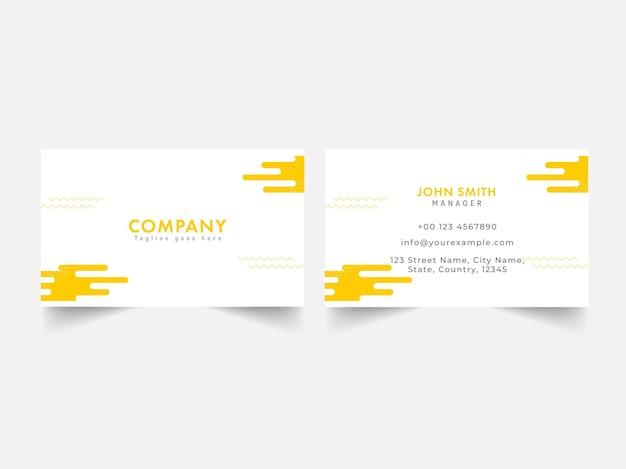 Modelo de cartão editável na cor branca e amarela.