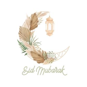 Modelo de cartão eid mubarak com design em forma de lua crescente boho
