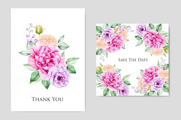 Modelo de cartão elegante casamento e convite floral