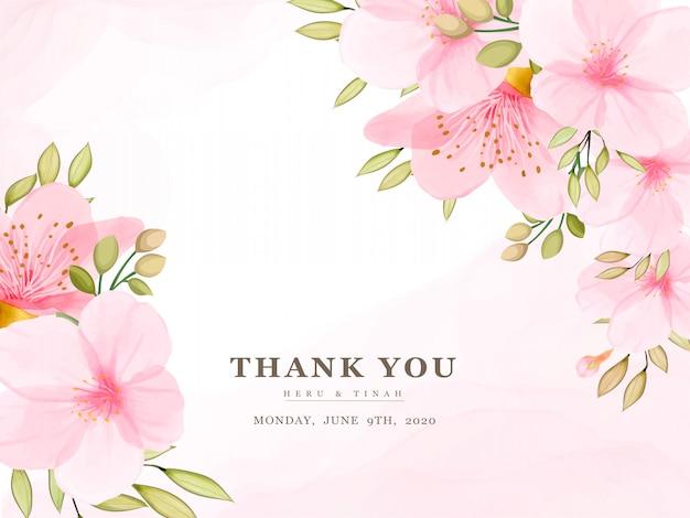 Modelo de cartão elegante flor de cerejeira em aquarela