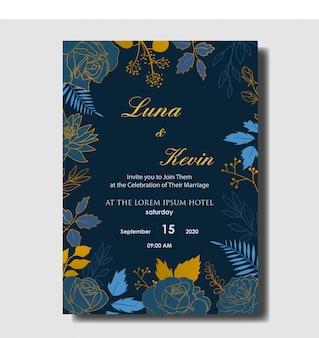 Modelo de cartão elegante mão desenhada floral casamento convite