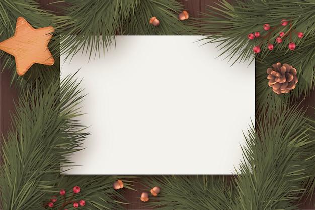 Modelo de cartão em branco de natal com a natureza do inverno
