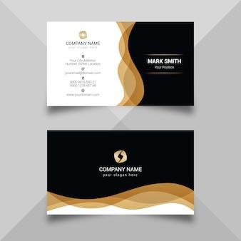 Modelo de cartão escuro dourado moderno
