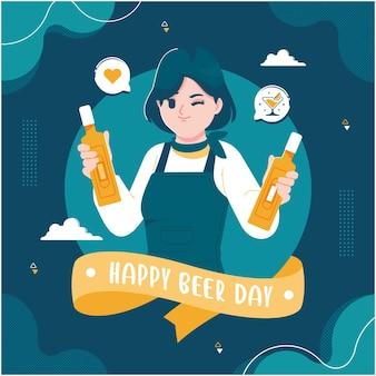 Modelo de cartão feliz para o dia da cerveja
