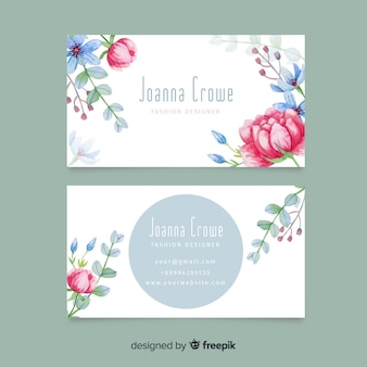 Modelo de cartão floral aquarela