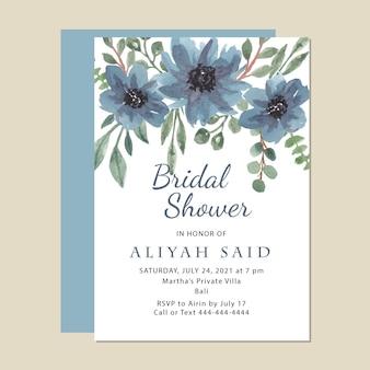 Modelo de cartão floral azul para chá de panela em aquarela de vetor premium