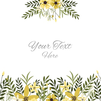Modelo de cartão floral com flores amarelas, folhas e ramos.