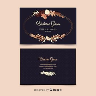 Modelo de cartão floral com linhas douradas