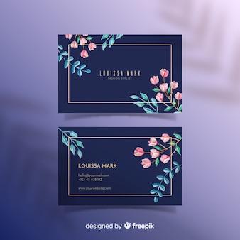 Modelo de cartão - floral com linhas douradas