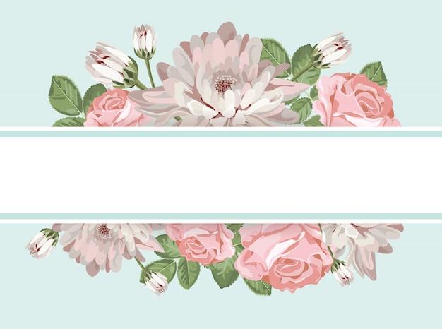 Modelo de cartão floral com moldura vazia