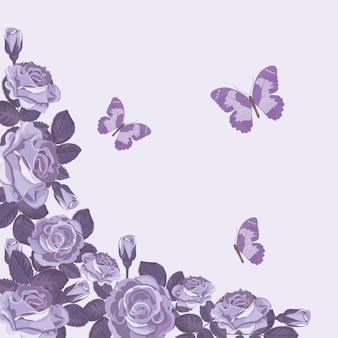Modelo de cartão floral com rosas violetas e borboletas