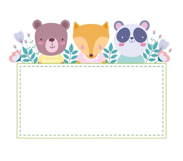 Modelo de cartão floral de animais fofos
