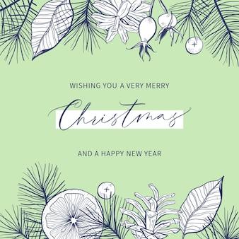 Modelo de cartão floral de feliz natal e feliz ano novo com caligrafia manuscrita