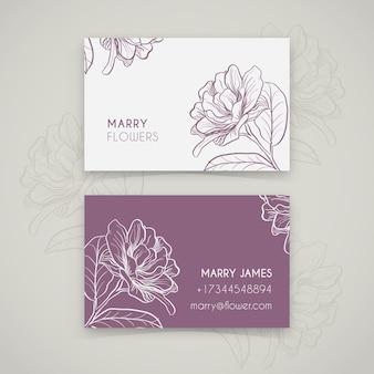 Modelo de cartão floral desenhada mão realista