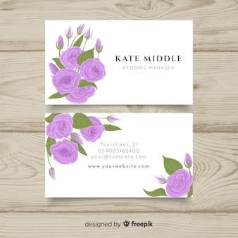 Modelo de cartão floral desenhado de mão