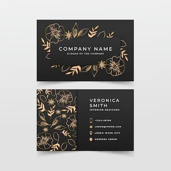 Modelo de cartão floral dourado