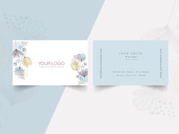 Modelo de cartão floral na frente e no verso. Vetor Premium