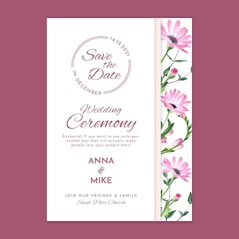 Modelo de cartão floral para cerimônia de casamento